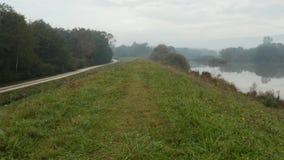 寄生虫在一个有雾的秋天早晨射击了移动沿与一个附近的反射性湖的象草的小山 影视素材