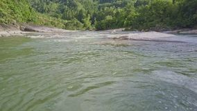 寄生虫在与泡沫似的急流的河水上降低 股票录像