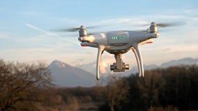 寄生虫在飞行中在阿尔卑斯的山前面盘旋在法国 免版税库存图片