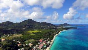 寄生虫拍的空中俯视图照片描述天堂海滩 免版税库存图片