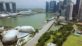 寄生虫被射击小游艇船坞海湾新加坡 股票视频