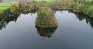 寄生虫飞行到一个密集地树木繁茂的海岛在有天鹅的一个池塘在它前面,鸟瞰图 股票录像