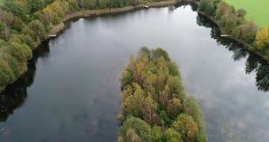 寄生虫飞行到一个密集地树木繁茂的海岛在有天鹅的一个池塘在它前面,鸟瞰图 影视素材