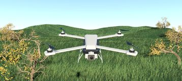 寄生虫quadcopter 3d例证 库存照片