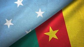 密克罗尼西亚和喀麦隆两旗子纺织品布料,织品纹理 向量例证