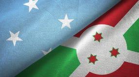 密克罗尼西亚和布隆迪两旗子纺织品布料,织品纹理 皇族释放例证