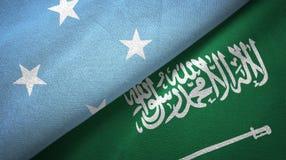 密克罗尼西亚和沙特阿拉伯旗子纺织品布料 向量例证