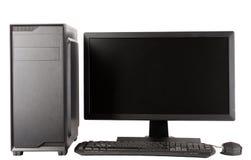 密地塔与被带领的显示器的计算机盒在白色背景 库存图片