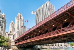 密执安大道桥梁- DuSable桥梁,芝加哥 免版税图库摄影