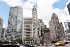 密执安大道的,芝加哥摩天大楼 免版税图库摄影