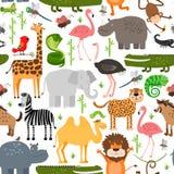 密林动物无缝的样式 库存例证