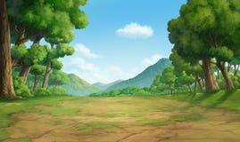 密林和山的绘画 库存照片