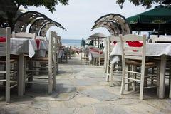 密熊属的希腊餐馆Thassos 免版税库存图片