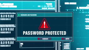 73 密码在数字式安全警戒的被保护的警告通知在屏幕上 向量例证