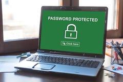 密码在膝上型计算机屏幕上的被保护的概念 库存图片