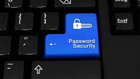 密码安全在键盘按钮的自转行动 股票视频