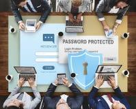 密码被保护的防火墙数字式互联网网概念 库存照片