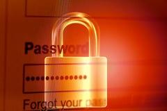 密码锁/密码安全网络窃贼保护证明在互联网浏览器挂锁背景的数据系统箱子 免版税库存图片