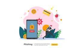 密码phishing的攻击概念着陆页模板 窃取与微小的人字符的heacker个人互联网安全 向量例证