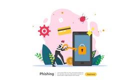 密码phishing的攻击概念着陆页模板 窃取与微小的人字符的heacker个人互联网安全 库存例证