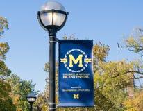 密西根大学的横幅和商标 库存照片
