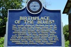 密西西比三角洲Dockery种田蓝色的出生地? 库存图片