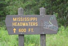 密西西比上游源头标志 库存图片