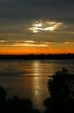 密西西比河日落 免版税库存图片