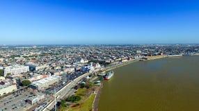 密西西比河美好的鸟瞰图在新奥尔良, LA 免版税图库摄影