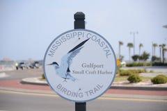 密西西比沿海Birding足迹标志 库存照片