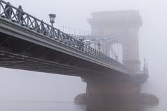 密集的冬天雾在布达佩斯 免版税库存图片