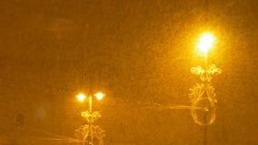 密集的降雪的夜 股票录像