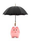 财富保护概念。存钱罐在伞下 向量例证