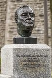 富兰克林・德拉诺・罗斯福著名雕象在魁北克市,加拿大 免版税库存照片