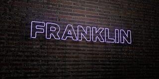 富兰克林-在砖墙背景的现实霓虹灯广告- 3D回报了皇族自由储蓄图象 向量例证