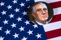 富兰克林D罗斯福和美国旗子 免版税库存照片