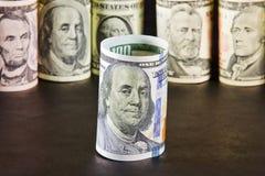 富兰克林D画象  在钞票一百玩偶的罗斯福 免版税库存照片