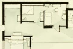 富启示性的黑白水彩和墨水说明材料,显示公寓房公寓平的部份楼面布置图 免版税图库摄影