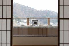 富士在日本和onzen 库存照片