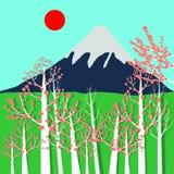 富士山、樱花和太阳 免版税库存照片