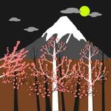 富士山、樱花和太阳 图库摄影