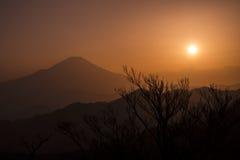 富士山剪影  库存照片
