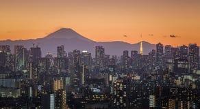 富士山和东京市视图 免版税库存照片