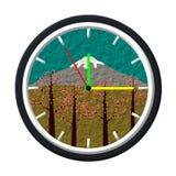 富士山图象,樱花,在时钟,例证 图库摄影