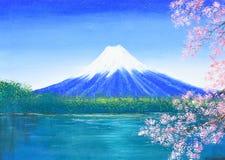 富士山在帆布的油画 免版税库存图片