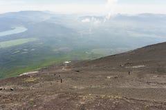 从富士山山顶的日出视图  免版税库存照片