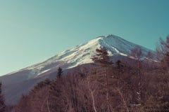 富士山或Mt美好的风景视图  富士用白色雪盖了在季节性的冬天在富士第一个驻地 免版税库存图片