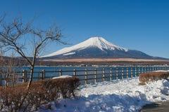 富士山或Mt美好的风景视图  富士用白色雪盖了在季节性的冬天在Yamanaka湖 免版税图库摄影