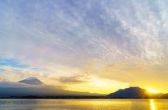 富士山日落,日本 库存照片