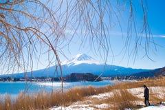 富士山的游人和kawaguchiko从自然生存中心的湖背景 库存图片